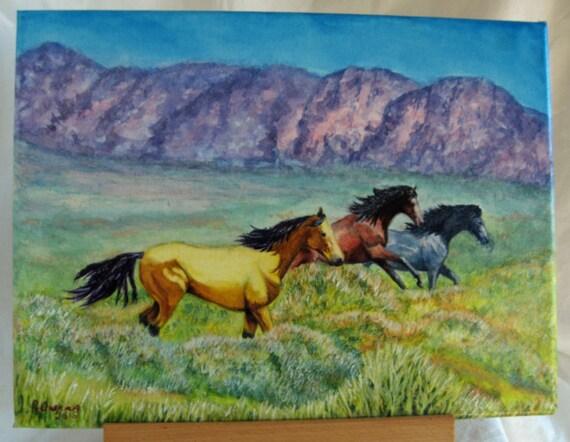 Original Painting Mustangs Horse Southwest Western Landscape Watercolor  Gallery Wrap Unframed Display C L Owens Texas artist