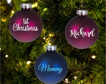 Personalised Christmas Tree Bauble decals DIY stickers x 12 Names, Our 1st Christmas, (Bauble not included)