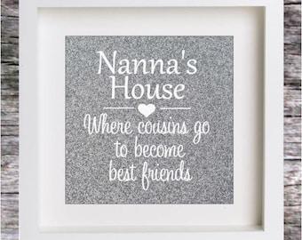 Vinyl Sticker Decal for DIY BOX FRAME Nanna's House Birthday Gift (Sticker Only)