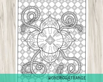 Jellyfish Mandala Coloring Page Narcomedusae Six
