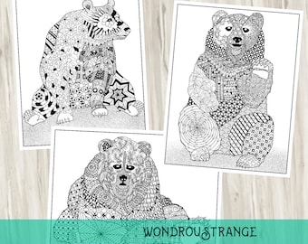 Bear Trio Three Printable Coloring Pages