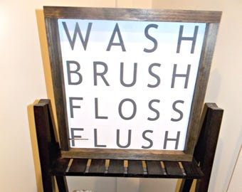 Wash brush floss flush | bathroom sign | 12x12 | rustic decor | wood sign | farmhouse | wall decor