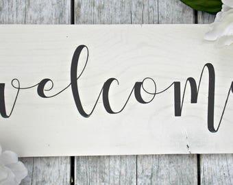 Welcome | 6x12 | rustic decor | wood sign | farmhouse | wall decor