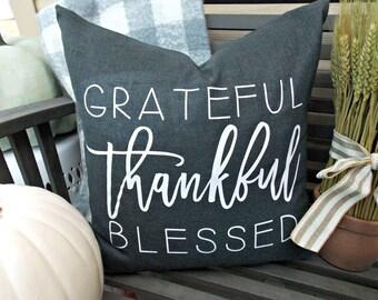 Thankful pillow cover | Thanksgiving pillow | Fall pillow | Blessed Pillow | Fall Decor