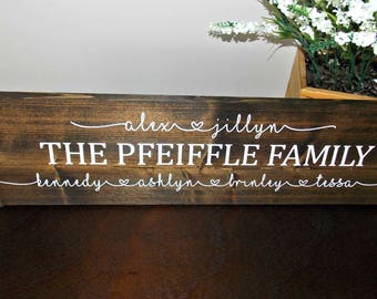 Personalized Family Sign | 6 x 24 | rustic decor | wood sign | farmhouse | wall decor | wedding gift | housewarming gift |