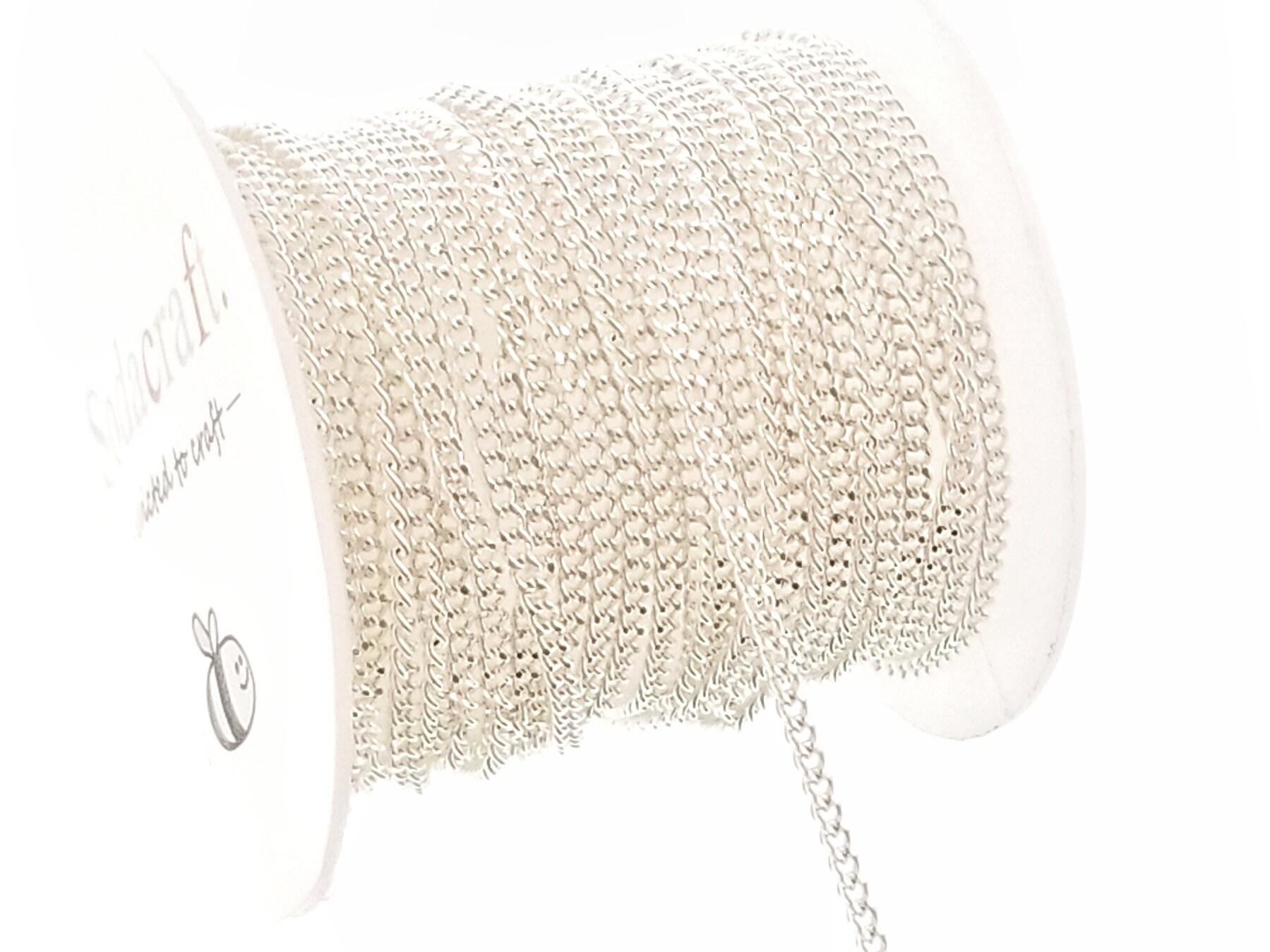 10ft (3.1 m) en laiton plaqué argent trottoir fabrication cubain à facettes chaîne bobine pour fabrication trottoir de bijoux-(2 x 3 mm) 2 mm 430728