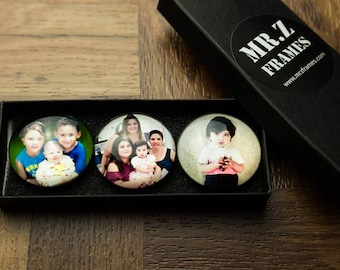 """Customized Crystal Glass Magnets - Set of 3 - Handmade - , Personalized gift for any occasion (1.5""""x1.5"""")"""