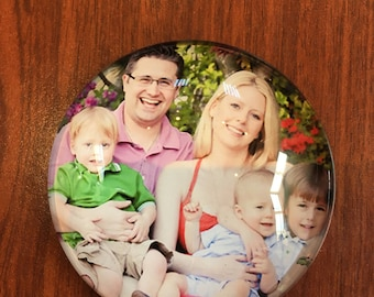 """Customized Crystal Glass Magnets (1.96""""x1.96"""") set of 3, Personalized gift for any occasion"""