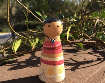 Moana Peg Doll. Wooden, hand painted, peg dolls, wooden toys, cake toppers, collectables.