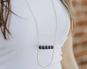 Onyx Drop Statement Necklace | Long Chain Black Stone