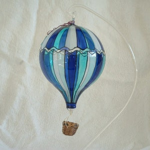 Turquoise and White Blown Glass Hot Air Balloon Ornament Stands Sold Separately, 6.00 each! |