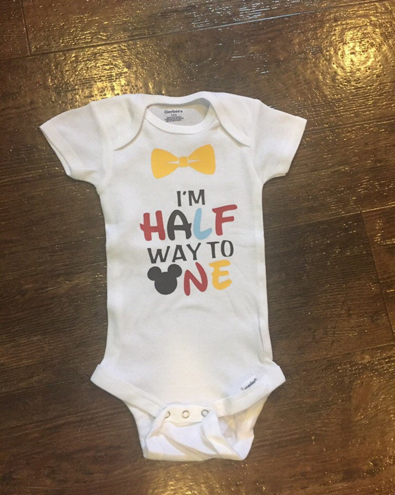 00d34d3a22d80 FREE SHIP! Baby Girl Boy It's My Half Birthday Bodysuit, Half Birthday,  Half Birthday Onesie, Halfway To One Outfit, 1/2 Bday Mickey Mouse