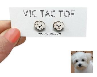 MALTESE DOG Pet Cut SILVER  FILIGREE EARRINGS Jewelry