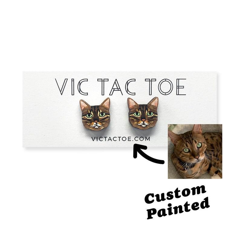 Custom Cat Earrings Cat Gift Cat Lover Earrings Wooden image 1