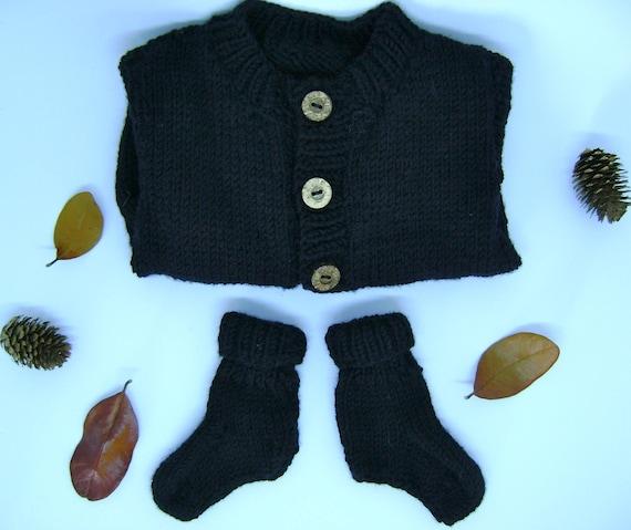 03aae86a890d Baby cardigan and booties set Merino wool baby cardigan