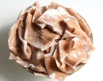 Biscuit tan silk velvet ribbon Hand dyed sand brown velvet ribbon Beige brown velvet ribbon Fine art photo styling Bouquet velvet ribbon