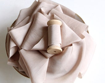 Nude silk ribbon Bone beige silk sash Hand dyed habotai sash Veil ribbon Tuscany wedding theme Countryside bride Bridal bouquet