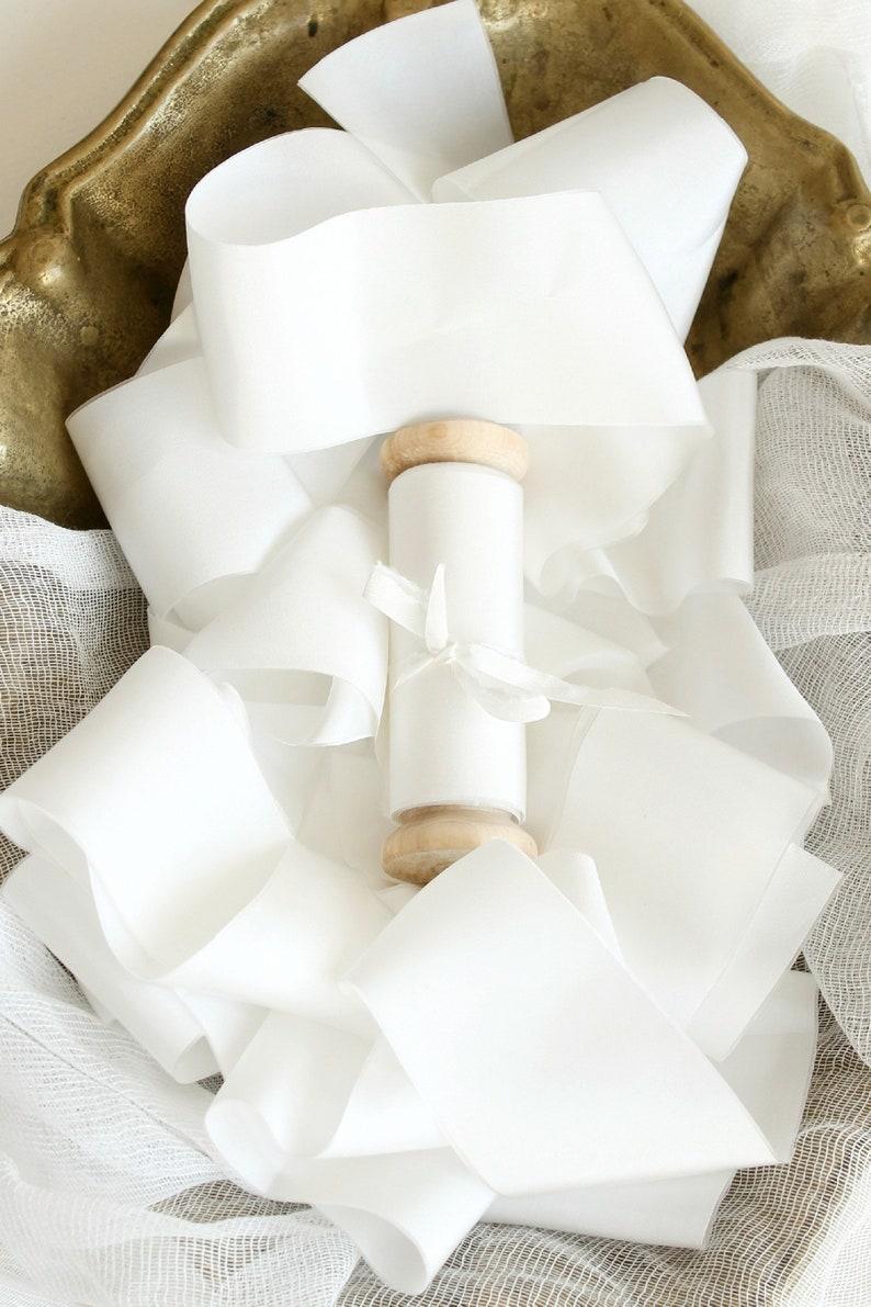 White silk ribbon Snowy white sash Habotai silk Classic wedding bouquet Calligraphy ribbon Wedding vows ribbon Gift for bride Made of honor