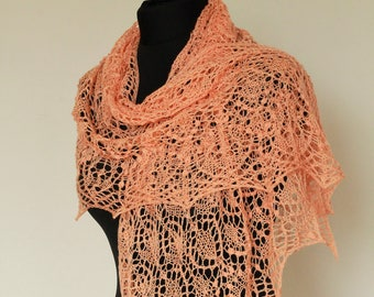 Triangular knitted shawl. Lace shawl. Beaded shawl with nupps