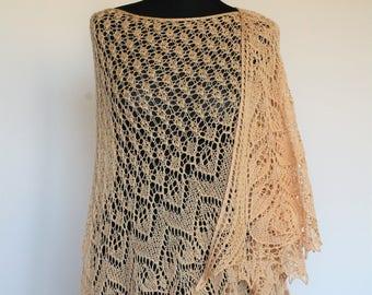 Crescent shaped shawl. Knitted lace shawl. Beaded Shawl. Sandy peach shawl.