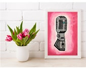 Music Lover Printable Wall Art, Vintage Microphone Instant Download, Pink Wall Art, Multiple Sizes, Vintage Art