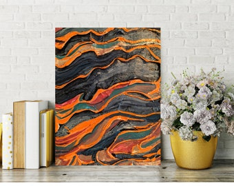 Mixed Media Painting on Canvas, Orange and Blue Wall Art, Heavy Texure, Handmade, Modern Home Decor, Free Shipping, 10 x 8 inches
