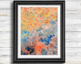 Printable Art, Orange, Gold & Blue Abstract Print, Instant Download, Modern Home Decor, Digital Download, Multiple Sizes