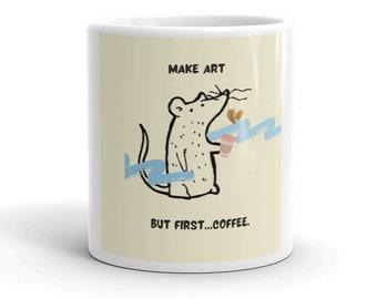 Coffee Mug, Drinkware, Make Art But First Coffee, Yellow Cartoon Mug, Ratty Logo Mug, Free Shipping, Two Sizes Available