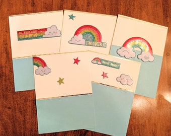 Handmade Notecards Rainbow Themed Set of Five, Blank Inside, 4x6 inches, Free Shipping