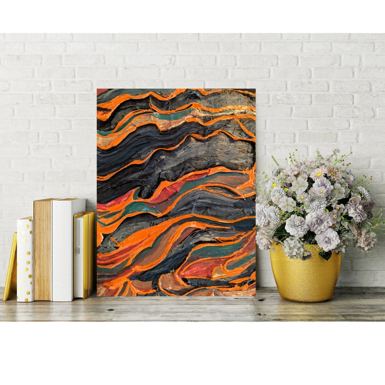 Mixed Media Painting on Canvas Orange and Blue Wall Art image 0