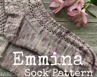EMMINA Sock Pattern    Pattern   Knitting Pattern   Lace   Cuff Down
