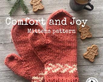 COMFORT AND JOY Mittens Pattern  - Digital Pattern