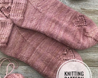 KEY To MY HEART Sock Pattern  Pattern  Knitting Hearts  Valentines Day  Cuff Down