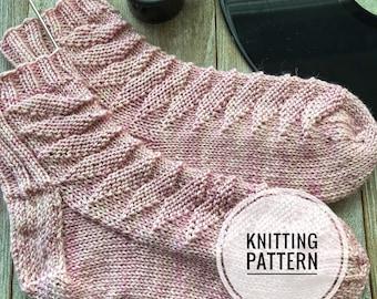 SWEET CAROLINE Sock Pattern Knitting DK Cuff Down