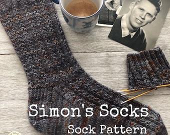 SIMON'S SOCKS Sock Pattern    Pattern   Knitting Pattern   Faux Cable   Cuff Down