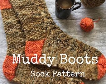MUDDY BOOTS Sock Pattern - digital download