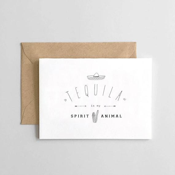Funny Birthday Card Tequila Spirit Animal Etsy