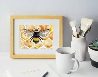 Honeycomb Bee Home Decor Print 5x7 Watercolor
