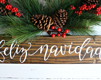feliz navidad hand lettered wood sign christmas sign spanish christmas sign christmas decor holiday decor