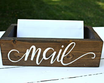 Rustic Rectangular Wood Box - Hand Lettered Mail Wood Box - Countertop Mail Holder - Office Desk Organizer - Wood Mail Box