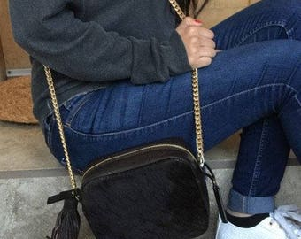 Genuine Calf Hair & Embossed Leather Trim Crossbody Bag