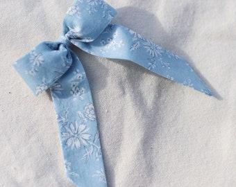 Blue /& white floral hair bow