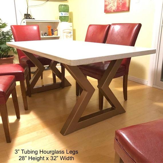 Hour Glass Table Legs - (metal table legs, metal legs, diy, bench legs,  coffee table legs, kitchen table legs, metal table legs)