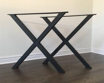 X-Frame Bench Legs - Metal (table legs, metal legs, diy, custom table legs, unique table legs, coffee table legs, kitchen table legs, legs)