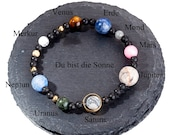 "Planet bracelet made of gems ""You are the sun"""