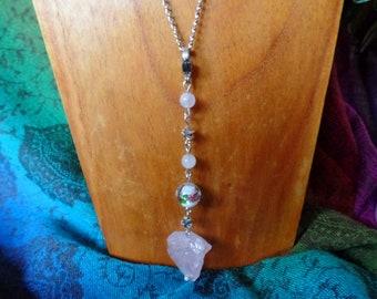 Rose Quartz Roses Necklace