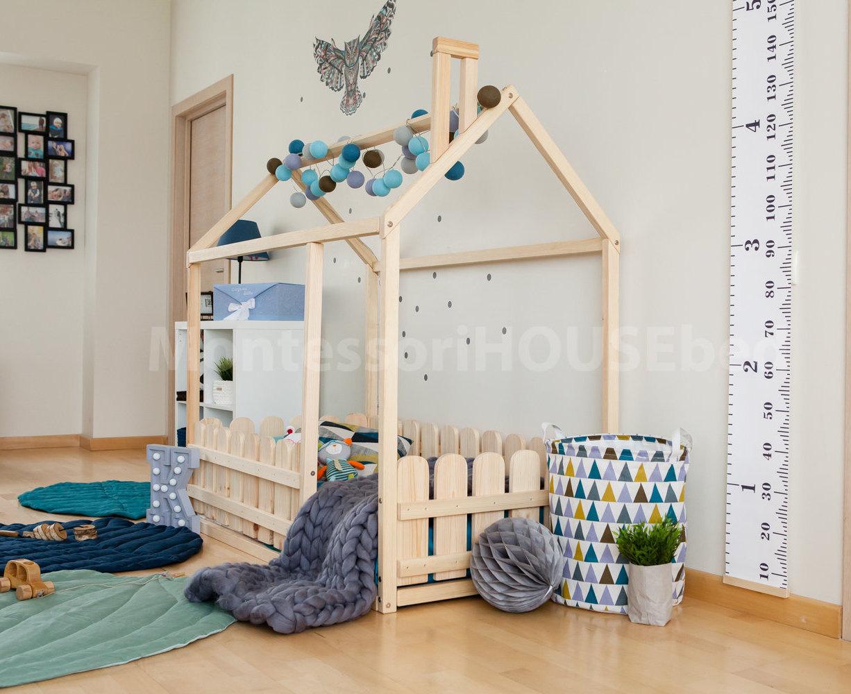 Krippe Boden Haus Bett Kinderbett Holzhaus Rahmen Bett | Etsy