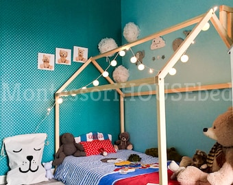 Montessori bed, toddler bed, baby bed, Wood house bed frame, Wood bed frame tent bed, children bed, wood nursery, Wooden house teepee bed