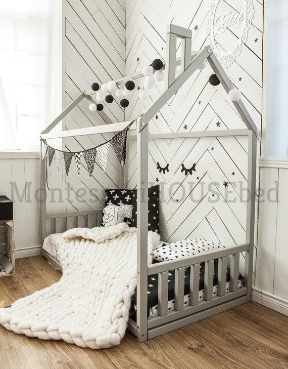 Kids bedroom solid wood bed frame natural wood nursery bed   Etsy