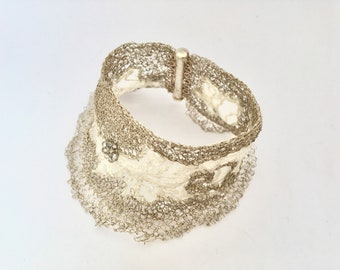 Bridal bracelet, silver thread, crocheting with macrame ' lace, enveloping and soft headband